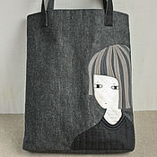 Сумки и аксессуары handmade. Livemaster - original item Comfortable bag made of thick cotton with applique. Handmade.