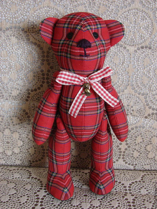Мишки Тедди ручной работы. Ярмарка Мастеров - ручная работа. Купить Сэм. Handmade. Красный, клетка, авторский мишка тедди