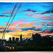 """Картины ручной работы. Ярмарка Мастеров - ручная работа Картина акрилом """"Вечер догорает"""". Handmade."""