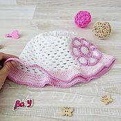 Работы для детей, handmade. Livemaster - original item Panama for girls knitted Panama baby white with pink. Handmade.