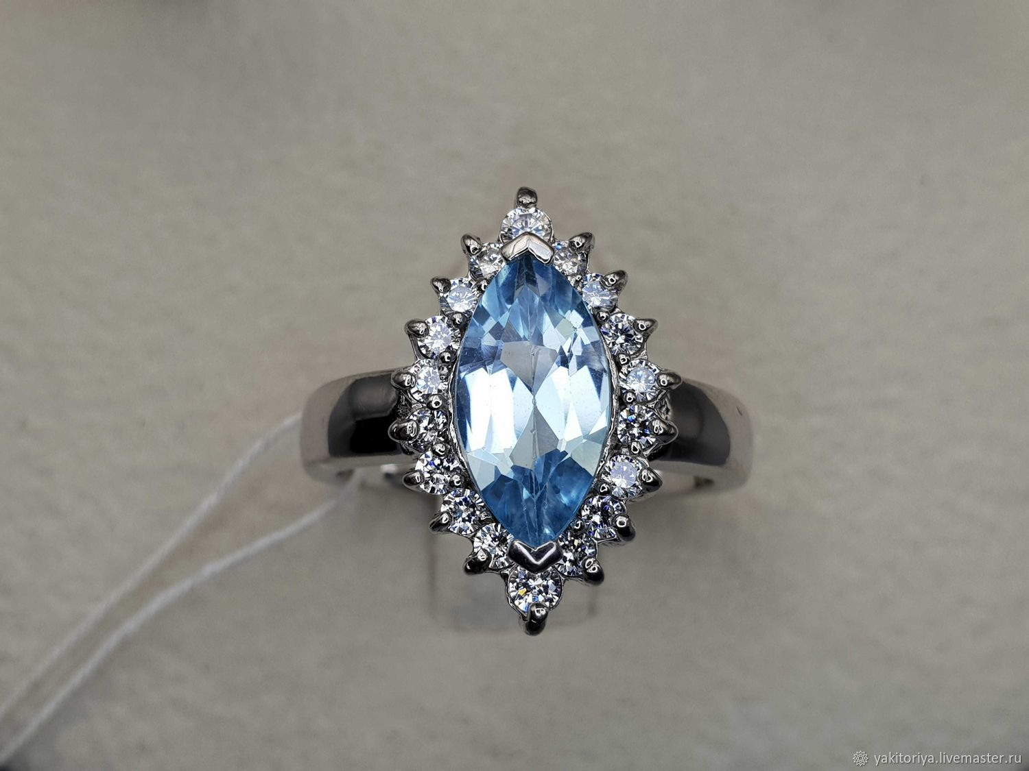 Silver ring with blue topaz 12h6 mm, Rings, Moscow,  Фото №1