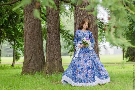 Свадебное платье в Русском стиле, платье Невесты в стиле А-ля Русс, платье гжель, ручная работа, эксклюзив.