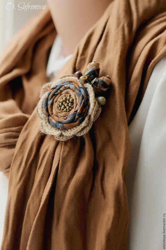 """Броши ручной работы. Ярмарка Мастеров - ручная работа. Купить Брошь текстильная """"Пряная осень"""". Handmade. Синий, брошь-роза"""