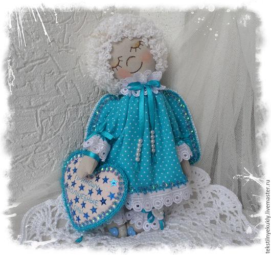 Коллекционные куклы ручной работы. Ярмарка Мастеров - ручная работа. Купить Ангел.... Handmade. Тёмно-бирюзовый, подарок, волшебство, бязь