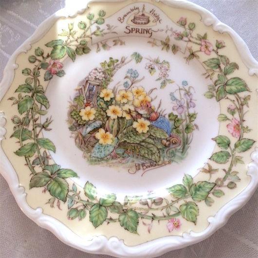 Винтажная посуда. Ярмарка Мастеров - ручная работа. Купить Brambly hedge Винтажная фарфоровая тарелка Весна. Handmade. Для интерьера