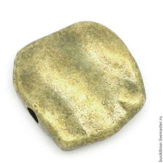 Бусины металлические произвольной формы `Античная бронза` 11x10 мм.