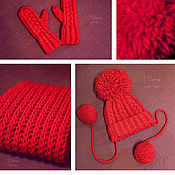 Работы для детей, handmade. Livemaster - original item Set knitted For Thumbelina, knitted cap, scarf - snud and mittens.. Handmade.