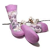 Обувь ручной работы handmade. Livemaster - original item Felted socks handmade Lily in the garden. Handmade.