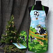 Сувениры и подарки handmade. Livemaster - original item the year of the Ox: Christmas gifts: Apron and potholders Bulls and cows. Handmade.