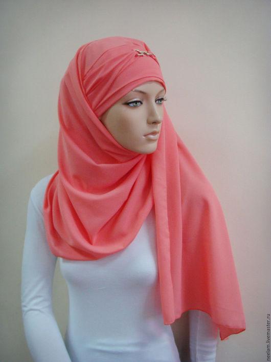 """Этническая одежда ручной работы. Ярмарка Мастеров - ручная работа. Купить Копия работы Тюрбан-хиджаб """"элеганстность"""" коралл. Handmade."""