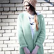 Одежда ручной работы. Ярмарка Мастеров - ручная работа Пальто Оверсайз Вязаное Норка (Мятный цвет). Handmade.