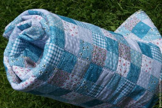 Для новорожденных, ручной работы. Ярмарка Мастеров - ручная работа. Купить Детское лоскутное одеяло. Handmade. Голубой, лоскутная техника
