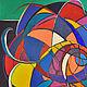 Абстракция ручной работы. Ярмарка Мастеров - ручная работа. Купить нить и иголка. Handmade. Синий, мульти цвета, холст