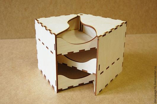 Шкатулка раздвижная  (продается в разобранном виде)  Размер: 15х15х15 см  Материал: фанера 4 мм