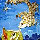 """Фантазийные сюжеты ручной работы. Картина на стекле """"Ночной разговор"""". Екатерина. Интернет-магазин Ярмарка Мастеров. Кот, картина в подарок"""