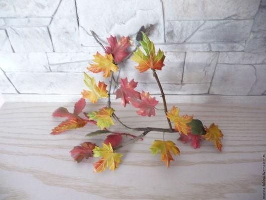 Праздничная атрибутика ручной работы. Ярмарка Мастеров - ручная работа. Купить ветка осени. Handmade. Рыжий, листья ручной работы