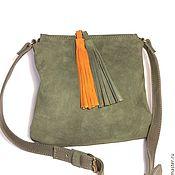 Сумки и аксессуары handmade. Livemaster - original item Malta Olive.  Little olive handbag made of suede and leather. Handmade.