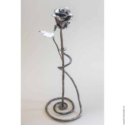 """Цветы ручной работы. Ярмарка Мастеров - ручная работа. Купить Цветок кованый """"Роза"""". Handmade. Серый, ручная ковка, сталь"""