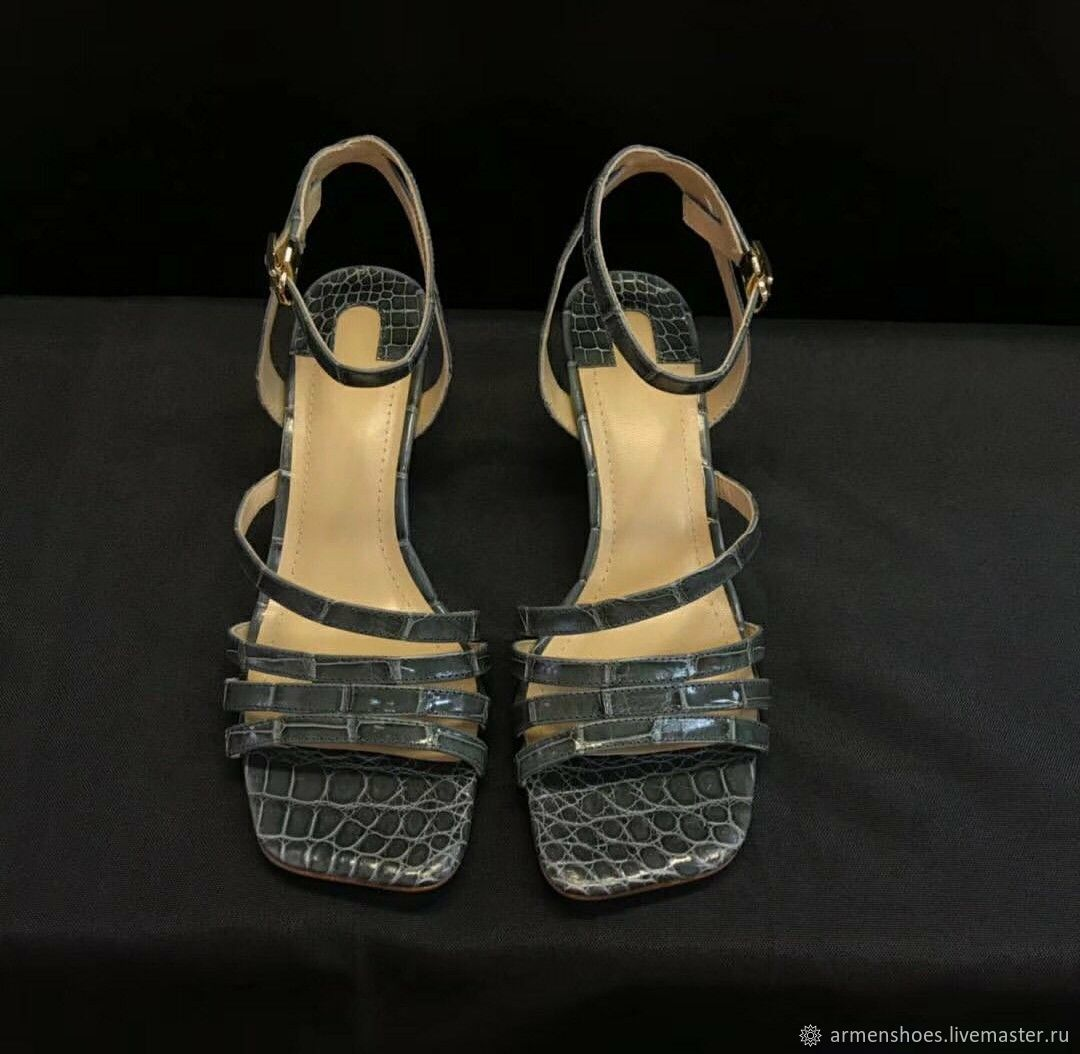 Sandal in crocodile leather, in grey color!, Slingbacks, Tosno,  Фото №1