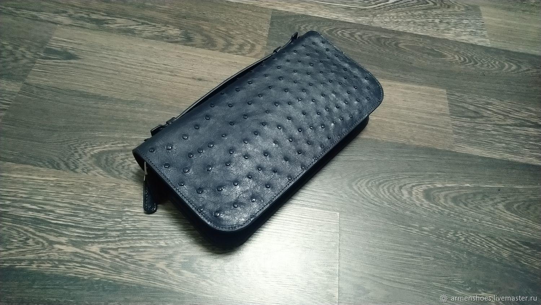 Genuine ostrich leather purse in dark blue color!, Man purse, Tosno,  Фото №1