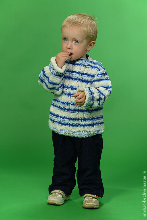 Одежда для мальчиков, ручной работы. Ярмарка Мастеров - ручная работа. Купить Свитер. Handmade. Белый, зима, вязание спицами, водолазка