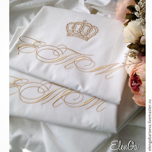Текстиль, ковры ручной работы. Ярмарка Мастеров - ручная работа. Купить Постельное белье с вышивкой - СВАДЕБНОЕ. Handmade. Белый, для невесты