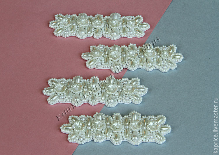 Термо-аппликация АннА,белая вышита бисером и бусинами,цветами из пластика