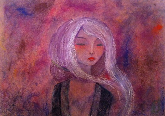 Фантазийные сюжеты ручной работы. Ярмарка Мастеров - ручная работа. Купить Картина пастелью - Японская нежность. Handmade. Картина в детскую