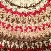 Одежда handmade. Livemaster - original item Knitted vest mocha style lopapeysa (Alpaca, beige white cranberries). Handmade.