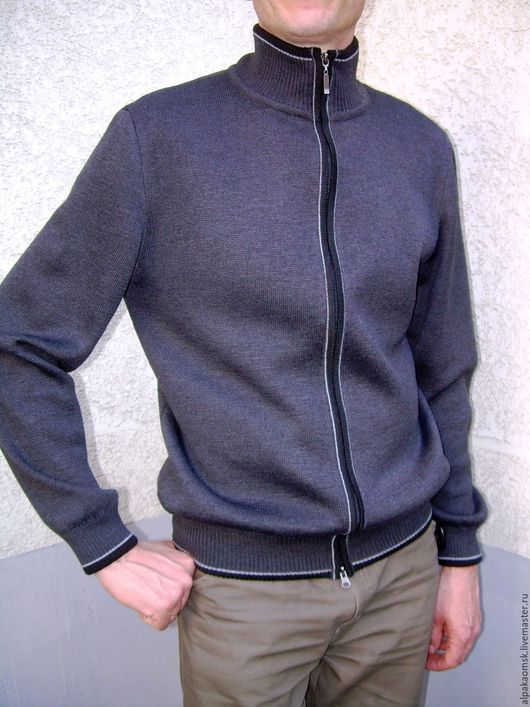 Кофты и свитера ручной работы. Ярмарка Мастеров - ручная работа. Купить джемпер мужской трикотажный. Handmade. Темно-серый, полушерсть