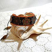 Украшения handmade. Livemaster - original item Leather bracelet and Jeans with wooden buttons. Handmade.