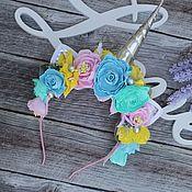 Диадемы ручной работы. Ярмарка Мастеров - ручная работа Ободок единорога, ободок лол, браслет с цветами. Handmade.