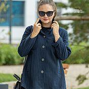 Одежда handmade. Livemaster - original item Jacket-pea coat blue stripe. Handmade.