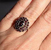 Винтаж handmade. Livemaster - original item Ring Silver 900 Genuine Czech Garnets 1950. Handmade.