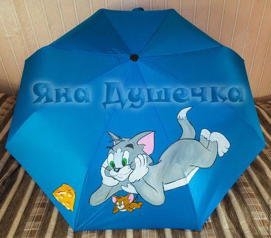 """Зонты ручной работы. Ярмарка Мастеров - ручная работа. Купить Зонт с рисунком на заказ """"Том и Джерри"""". Handmade. Зонт"""
