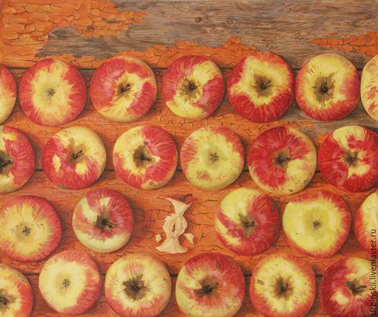"""Натюрморт ручной работы. Ярмарка Мастеров - ручная работа. Купить Картина маслом на холсте """"В толпе"""". Handmade. Разноцветный, яблоки"""