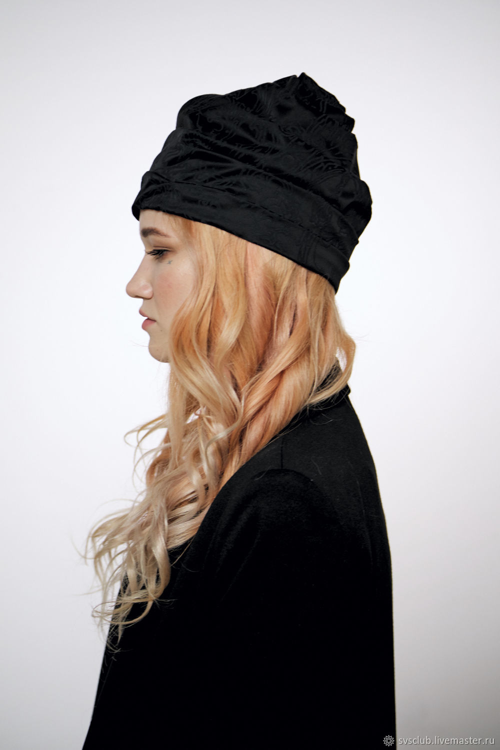 a7acf4244 Summer Black turban hat hijab with tassels – shop online on Livemaster with  shipping - J74S6COM | Moscow