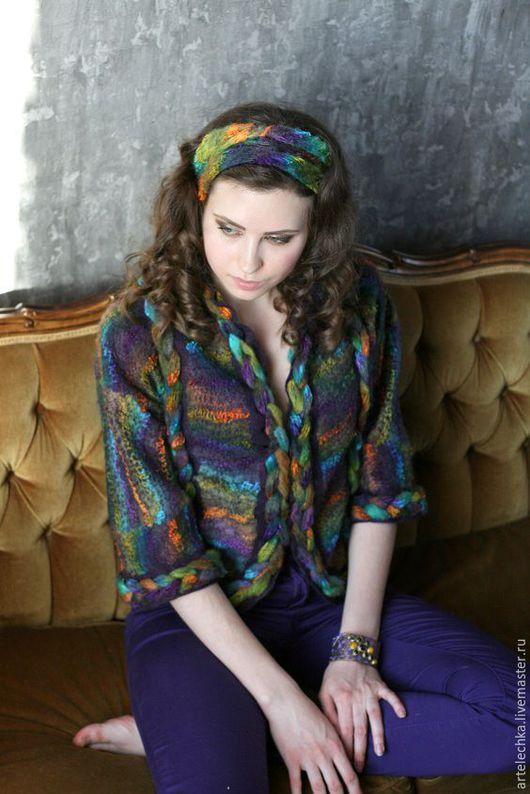 """Пиджаки, жакеты ручной работы. Ярмарка Мастеров - ручная работа. Купить Жакет """"Радужный"""" из мериносовой шерсти, яркий и жизнерадостный. Handmade."""