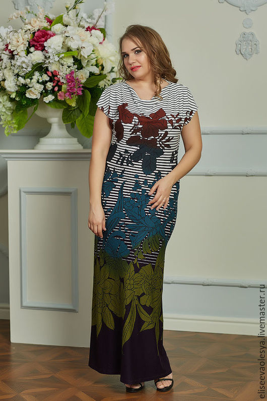 Платья ручной работы. Ярмарка Мастеров - ручная работа. Купить Эффектный длинный сарафан из вискозного трикотажа 25014-1. Handmade.