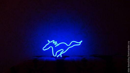 """Освещение ручной работы. Ярмарка Мастеров - ручная работа. Купить Сувенирный светильник """"Синяя лошадь"""". Handmade. Синий, лошадь игрушка"""