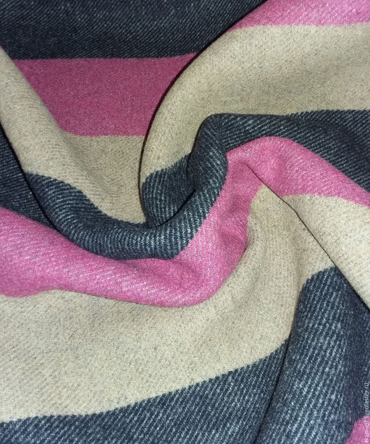 Шитье ручной работы. Ярмарка Мастеров - ручная работа. Купить Стильная пальтовая шерсть полоса. Handmade. Бежевый, ткань для творчества