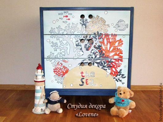 """Мебель ручной работы. Ярмарка Мастеров - ручная работа. Купить Декор комода """"Тайны морских глубин"""" в морском стиле. Handmade."""