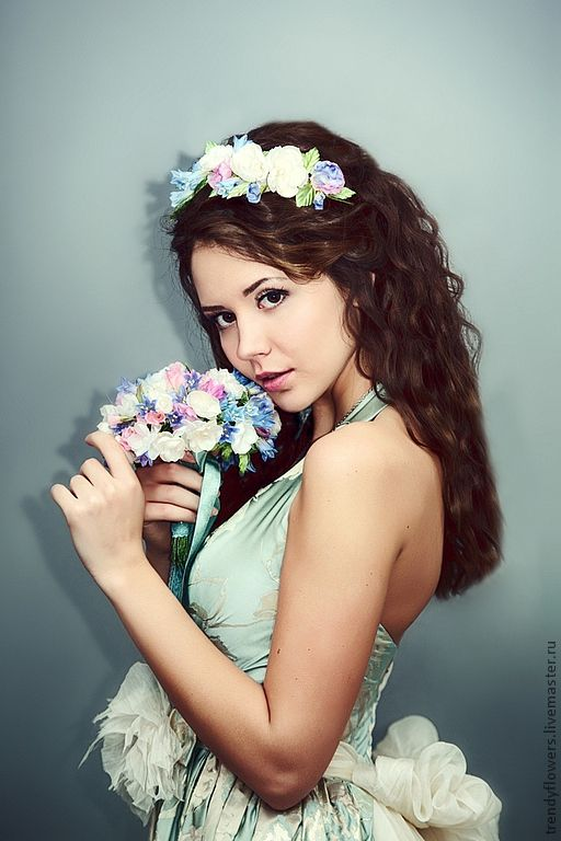 Комплект украшений для невесты Эльфийский сад. Цветы из шелка