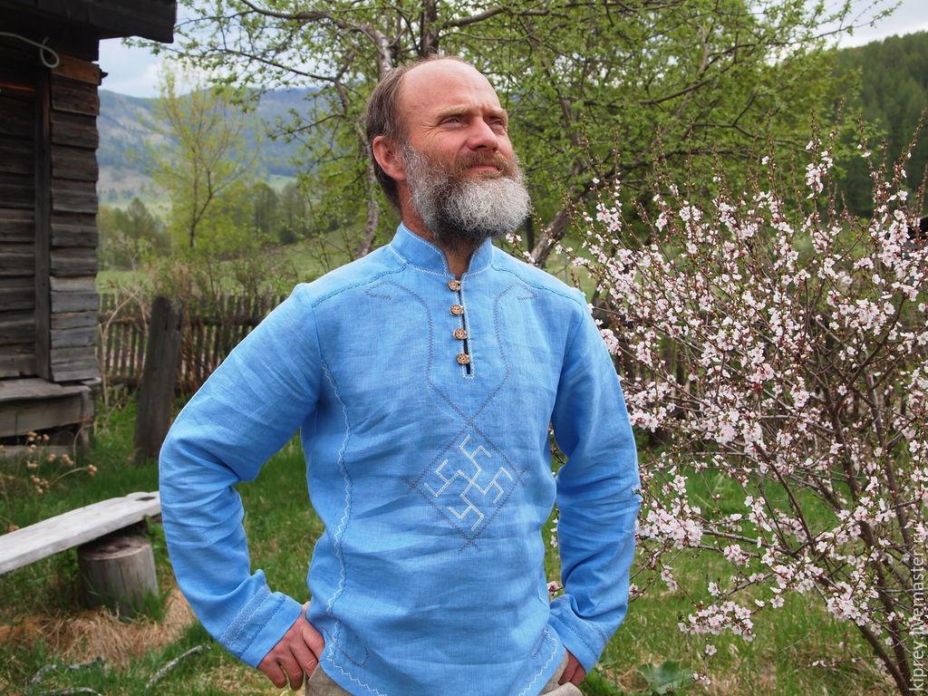 """Этническая одежда ручной работы. Ярмарка Мастеров - ручная работа. Купить Рубаха мужская льняная """"Весна в душе"""". Handmade. Голубой"""