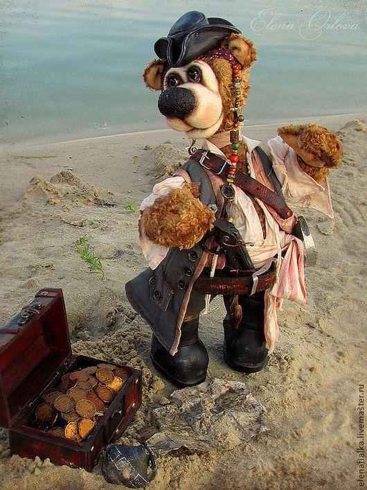 Мишки Тедди ручной работы. Ярмарка Мастеров - ручная работа. Купить Пират Джек_Воробей(48 см). Handmade. Коричневый, мишки тедди