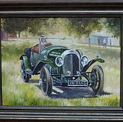 Картины ручной работы. Ярмарка Мастеров - ручная работа Зеленый ретро автомобиль. 30х40см. Handmade.