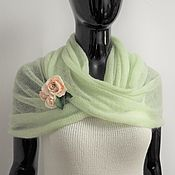 Аксессуары handmade. Livemaster - original item Snood two turns from kid-mohair pale green. Handmade.