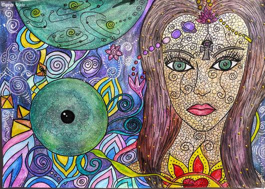 """Абстракция ручной работы. Ярмарка Мастеров - ручная работа. Купить Картина """"Вселенная смотрит в наши души"""" (акварельные карандаши, акрил). Handmade."""