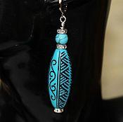 Украшения handmade. Livemaster - original item Earrings blue beads with embossed Blue. Handmade.