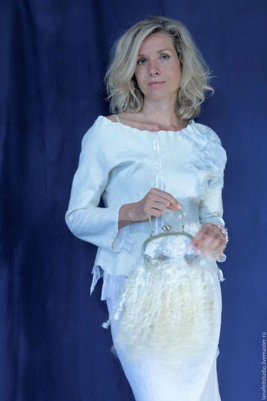 """Блузки ручной работы. Ярмарка Мастеров - ручная работа. Купить Белая блуза """"Лодочка"""". Handmade. Белый, одежда из войлока, блуза"""